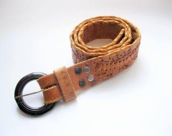 Vintage Genuine Leather Tooled Belt, Size Medium, Tan Leather Belt, Handmade, by mailordervintage on etsy