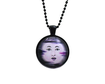 Moon Face Necklace, Moon Face Jewelry, Full Moon Necklace, Full Moon Jewelry, Man in the Moon, Picture Necklace, Moon Necklace, Photo Charm