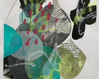 Mixed media, collage on paper #1  Acrylic, graphite, dictionary paper