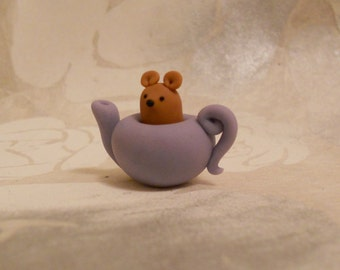 Little Mouse in a Teapot - Handmade FIMO polymer clay miniature figure alice in wonderland cake topper