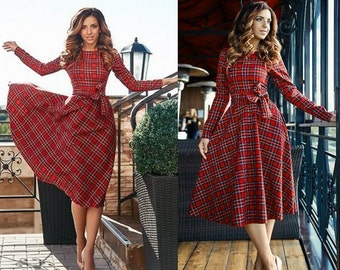 Tartan knee length dress Plaid midi dress casual flared dress with  long sleeves party dress every day dress checkered dress