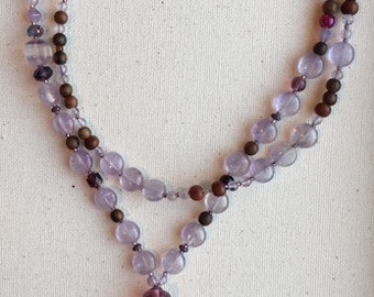 Amethyst and wood tassel
