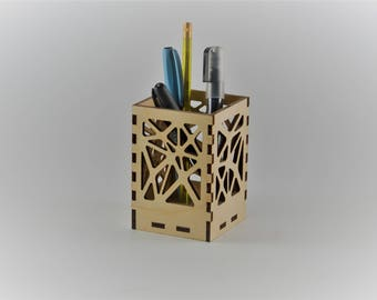 Wood pencil holder, office supplies, square pencil cup, modern pen holder, voronoi cup, office gift
