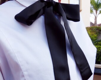 Handmade Black Skinny Silk Scarf