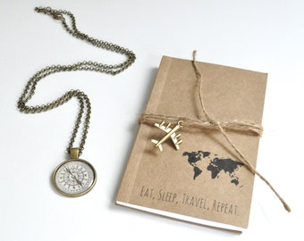 Travel themed gift, notebook, journal, necklace, nautical, compass necklace, travel journal, travellers gift, graduation gift, travel theme