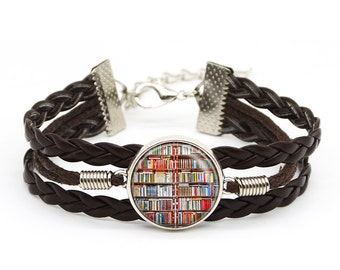 Library Jewelry Book Lover Bracelet Librarian Gift Writer Teacher Book Charm Christmas Lover Gift