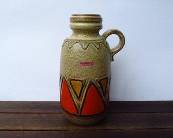 West German Pottery vase by Scheurich 413 26 / vintage vase / ceramic / orange yellow / mid century modern