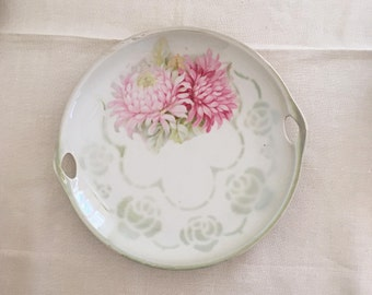 Lustre Green Dahlias Cake Plate with handles, Germany