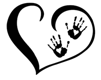 Kids heart and handprint decal - sticker / 6 inchs in size