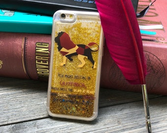Brave and Chivalrous iPhone Castle Case, Gold Glitter