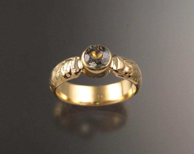 Garnet Green Demantoid Size 3 ring 14k Yellow Gold Victorian bezel set Green Diamond substitute ring