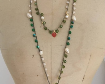Long necklace with pearls and charms 925 sterling silver