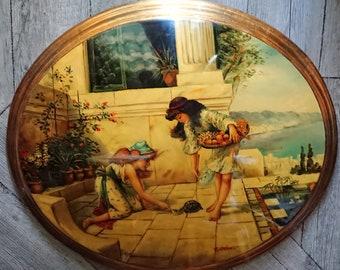 oval painting on wood