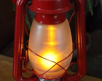 Battery Operated LED Lantern Table Lamp, RED LANTERN, Hurricane Lantern, Night Light, Rustic Lantern Light, Table Lamp