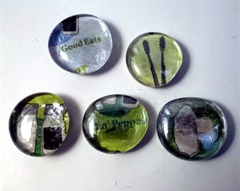 Set of 5 Kitchen Magnets, Refrigerator Magnets, Glass Magnets, Home Decor