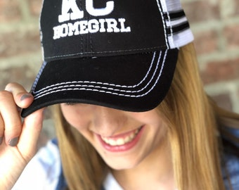 KC HOMEGIRL Black and White Baseball Cap