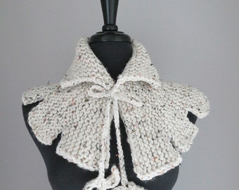 Off White Tweed Color Acrylic Yarn Capelet Cape Collar Cowl Gaiter with Crochet Leaf Cord Ties