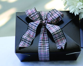Black Plaid Fancy Food Boxes - Birthdays, Weddings, Showers, Parties, Luncheon