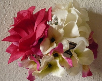 Fuchsia Ivory Rose Corsage or Boutonniere