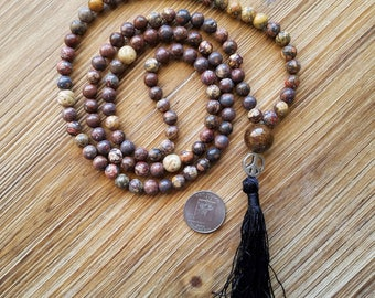 Mala, Tassel Necklace, Boho, 108 Bead Meditation Mala, Tassels, Jasper, Soapstone, Hindu Prayer Beads, Bronzite, Peace, Mantra, Boho Style