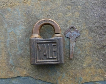Antique Bronze and Cast Iron Yale & Towne Push Padlock and Key