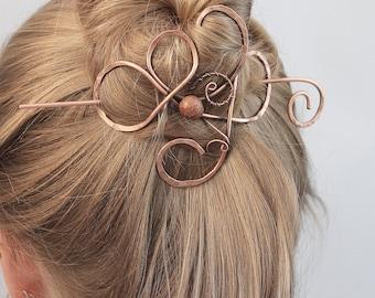 Chocolate Goldstone Large Hair Slide, Copper Hair Clip Women, Thick Hair Barrette, Metal Hair Pin, Hair Stick, Hair Accessories for Women