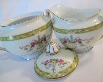 Vintage Noritake China Sugar Bowl and Creamer Set, Tea Party, Bridal Shower, Bridal Luncheon, Shabby, Farmhouse