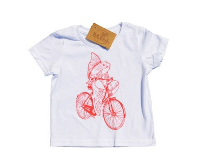 Girls T Shirts - Pink Fish on a Bike - Nautical T Shirt - Toddler Clothing - Fish Clothes - Pink T Shirt - Girls Birthday Gift