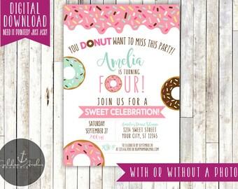Donut Birthday Invitation, Donuts, Donut Party, Donut Birthday, Invite, Photo - Printable DIY