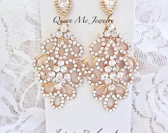 Yellow Gold crystal chandelier wedding earrings For a bride Sterling posts Gold wedding bridal Pageant crystal earrings Jewelry  MEG