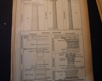 French Lithograph - Columns- 1920s engraving - original page Petit Larousse Dictionary great for framing learn French