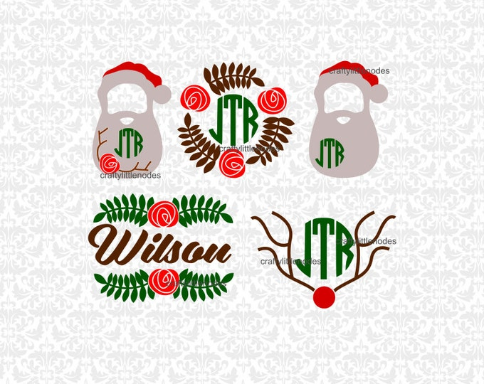 Christmas Flower Monograms Poinsettia SVG STUDIO Ai EPS Scalable Vector Instant Download Commercial Use Cutting File Cricut Silhouette