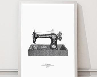 sewing machine print | printable graphic sewing machine | wall art | vintage sewing machine