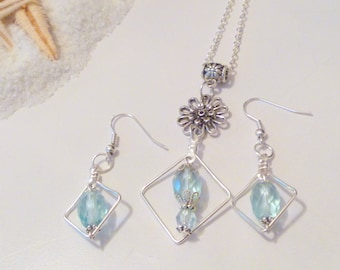 Handcrafted Baby Blue Crystal Beaded Necklace Earrings Silver Plated Set