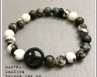 Bracelet | Yoga Bead Charm Mala ॐ INNER PEACE: Zebra Jasper | Peace Sign | Healing Karma Love | OOAK Luxury Organic Jewelry | Men Women
