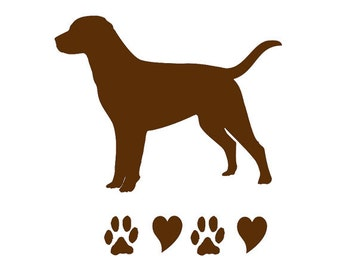 Chocolate Labrador Retriever Car Truck Wall Dog Decal with Paws Prints and Hearts