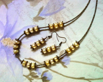 Yellow Freshwater Pearl Necklace and Earrings (1979)