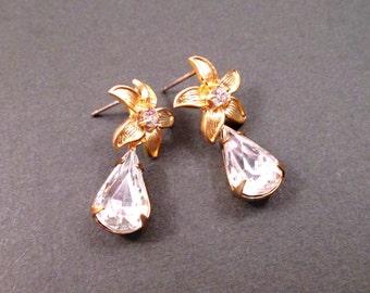 Rhinestone Drop Earrings, White Glass Stones and Gold Flower Post Earrings, FREE Shipping U.S.