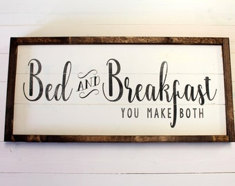 Mother's Day Gift Farmhouse Kitchen | Kitchen Sign | Guest Bedroom | Bed and Breakfast Shiplap Sign | Wood Painted Sign | Rustic Decor
