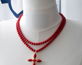 Regency Reproduction Two-Strand Red Coral-Colored Glass Bead Necklace with Cross. 18th Century, 19th Century, Colonial, Georgian, Victorian.