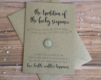Lucky Sixpence • Card for Bride • Wedding • Something Old, Something New • Wedding Keepsake