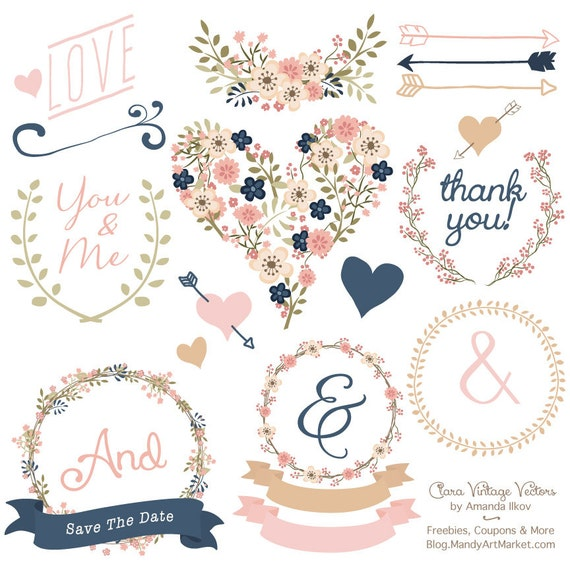 Premium Floral Clip Art Vectors Navy And Blush Wedding