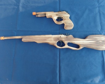Toy Rubber Band Hand Gun and Rifle set