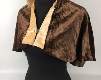 1920s or 1930s Chocolate Brown Velvet and Pure Silk Cape
