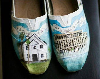 Bride's Love Story Wedding Shoes Vegas Wedding TOMS Painted Shoes Personalized Wedding Shoes Heirloom Gift for the Bride Unique Shower Gift