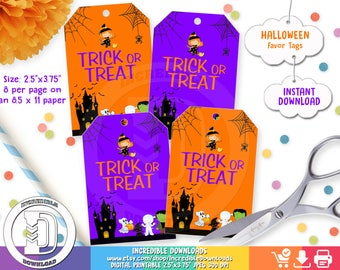 Halloween Favor Tags, Halloween Party Decorations,  Trick or Treat, Costume, Favor Tags, INSTANT Download