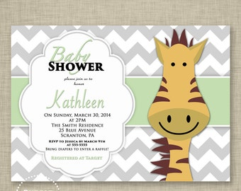 Giraffe Shower Invitation Mint Green Gray Chevron Party Invite Gender Neutral Invite Cute Kids Party Invite 5x7 Printable Invite (26)