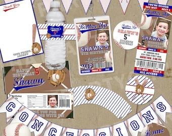 Ultimate Baseball Party  Package - Invitations Decorations Favors - DIY digital file U Print