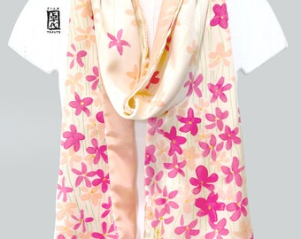 Japan Gift, Hand Painted Silk Scarf, Kimono Scarf, Floral Scarf, Silk Painting, Charmeuse Silk Scarf Reversible, Pink and Cream Wildflowers