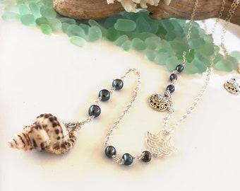 Hawaiian Triton Lariat Necklace, Sterling Silver Necklace, Pearl Necklace
